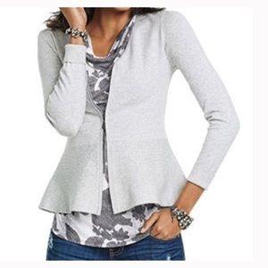 CAbi Willow Gray Peplum Zip Sweater Cardigan M